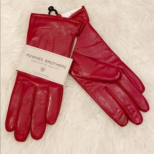 Fownes Brothers red leather faux fur lined gloves